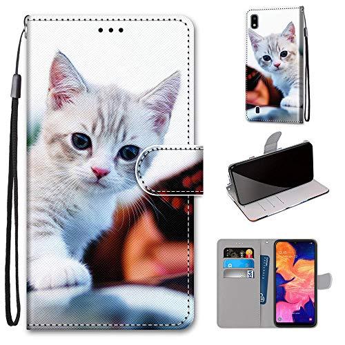 Miagon Flip PU Leder Schutzhülle für Samsung Galaxy A10,Bunt Muster Hülle Brieftasche Case Cover Ständer mit Kartenfächer Trageschlaufe,Süß Katze
