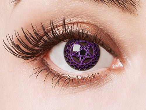 (aricona Farblinsen Cosplay Kontaktlinsen Pentagramm Stern, schwarz / 0 Dioptrien, 2.00 Stück)