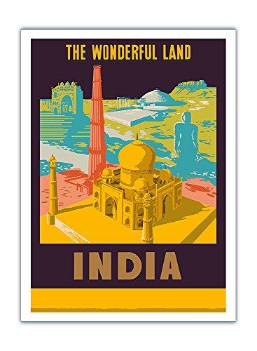 Pacifica Island Art Indien - EIN wunderschönes Land - Tadsch Mahal - Vintage Retro Welt Reise Plakat Poster c.1958 - Premium 290gsm Giclée Kunstdruck - 30.5cm x 41cm
