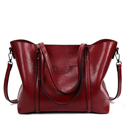 ion Tote Schulter Handtasche Für Frau Einfache Art Soft PU Leder Eimer Typ Reine Farbe Große Kapazität,Red (Eimer Crossbody Handtasche)