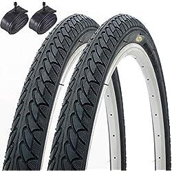 Par de Fincci Cubiertas Bicicleta de Carretera Montaña Híbrida Slick 26 x 2,10 56-559 y Tubos Interiores Schrader 48 mm