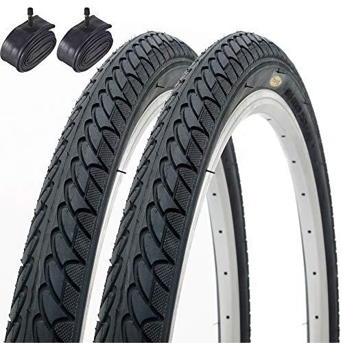 Fincci Paar Slick Road Mountain Hybrid Bike Fahrrad Reifen 26 x 1,95 53-559 und Autoventil Schläuche