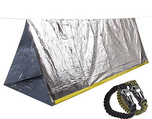 51i%2B Jq9 kL - Steps Emergency Tent Survival Shelter Mylar Thermal Reflective Tube, plus Free Two Survival Bracelet Paracord