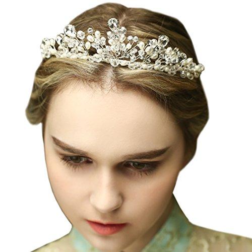 Vintage Silber Braut Tiara Crystal Strass Perle Krone Hochzeit Prom Haarschmuck