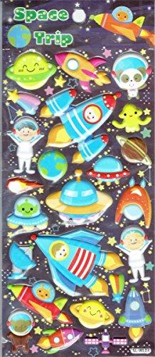 Planeten erde Mond Astronaut Alien Aufkleber 1 Blatt 190 mm x 100 mm Sticker Basteln Kinder Party ()