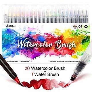 Amteker Brush Pen Set – 20+1 Handlettering Pen Set, Manga Drawing Pens Calligraphy Set, Watercolour Brush, Lettering Pens Set, Brush Pens for Bullet Journal, Calligraphy, Gift