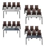 ESTEXO® Gartentisch-Set Alu 4/6x Gartenklappstuhl Polyrattan, WPC, Stühle, Klappstühle, Rattan (6 Stühle, Schwarz)