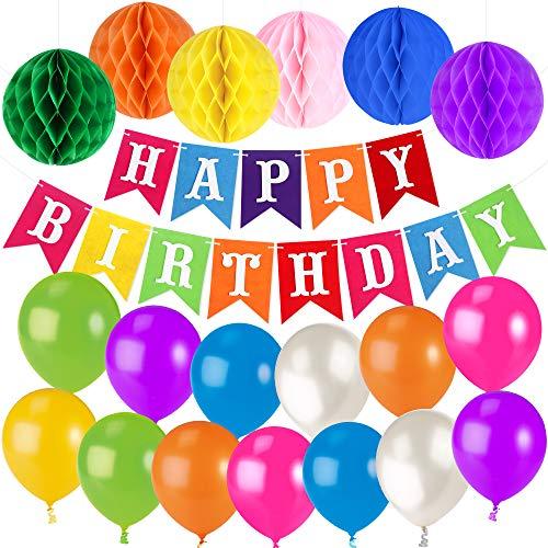 Unomor Geburtstag Dekorationen für Party mit Farbenfrohen Farbigen Happy Birthday Banner ()