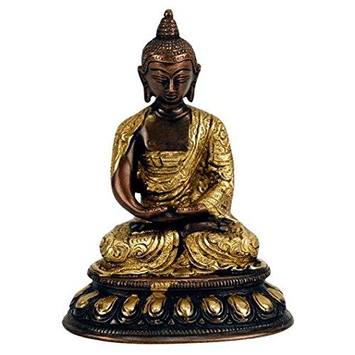 Buddha Amitabha Statue Messing 2-farbig