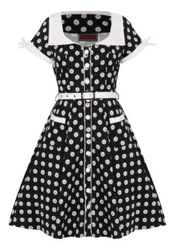 Voodoo Vixen Kleid POLKADOT FLOWERS DRA2297 Schwarz S