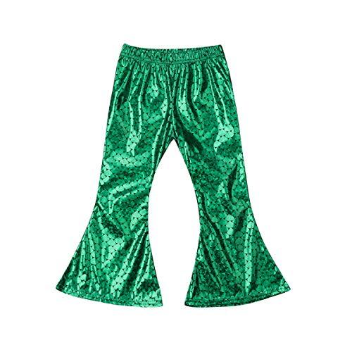 WangsCanis Mädchen Meerjungfrau Kostüm Kinder Fisch Flared Stretch Shine Flared Gamaschen Hose Leggings (Grün, 6-7 Jahre)