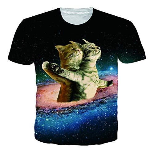 RAISEVERN Jungen Herren T-Shirt Kurzarm Smart Cats 3D Grafik T-Shirt Pullover Tops - Grafik Shirt