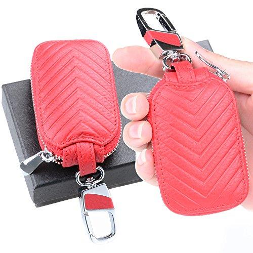 Semoss Universal Auto Schlüsselmäppchen Echtleder Schlüssel Hülle VW Geldbörse Rot Schlüsselanhänger Tasche für Damen und Herren 9.0 X 5.4 cm (Tasche Universal-schlüsselanhänger)
