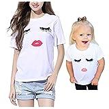 Imixcity Cils Lèvres rouges T-shirt imprimé Motif Débardeur Manches Courtes -Pour Sexy Femme (90 cm, Fille)