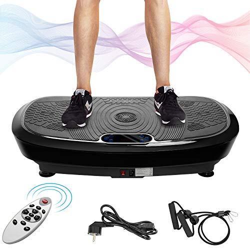 Merax Profi Vibrationsplatte mit Dual Motoren, 3D Wipp Fitness Vibrationsplatte für zu Hause. Inkl.Trainingsbändern + Fernbedienung + Integrierter Lautsprecher Ganzkörper Trainingsgerät