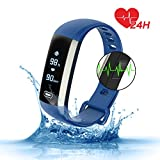 Waterproof Fitness Activity Tracker Heart Rate Monitor Sleep Blood Pressure Oxygen Monitor Pedometer Smart Bracelet Step Tracker/Calorie Counter/Sedentary/Drink/Call/SMS Reminder for Android & iOS (Blue)