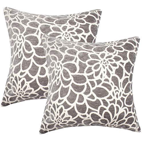 Mrniu confezione da 2 cuscino casi elegante decorativo cuscino 45,7 cm 50,8 cm 100% cotone divano home decor con cerniera invisibile, 2pcs-gray-1, 20 x 20 pollici