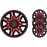4pc Set Wheel Trims Wheel Covers Hub Caps BARRACUDA NASCAR RED-BLACK 15 inch