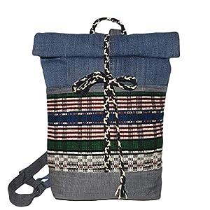 Damen Rucksack klein mit Ethno Motiven Denim Schultasche bunt Tagesrucksack nachhaltig aus Jeansstoff mit Fronttaschen…