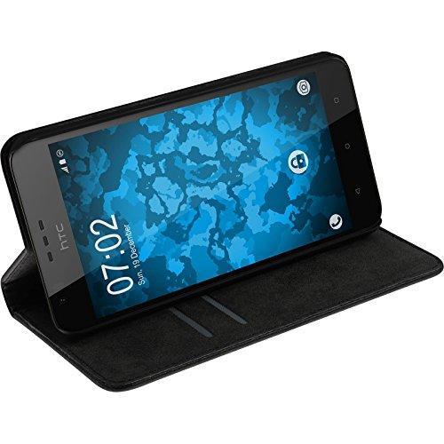 PhoneNatic Kunst-Lederhülle für HTC Desire 10 Lifestyle Book-Case schwarz Tasche Desire 10 Lifestyle Hülle + 2 Schutzfolien