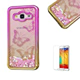 For Samsung Galaxy J5(2016 Model) Case J510 Cover, Funyye New Creative Floating Water Liquid Small Love Hearts Design Luxury Sparkly Lovely (Pink to Gold) Electroplate Plating Frame Crystal Design for Samsung Galaxy J5(2016 Model)- Butterfly Flower