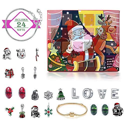 Monuary Calendario dell'Avvento di Natale, Calendario Conto alla Rovescia di Natale con 24 Giorni Gioielli con Collana a Bracciale con Ciondoli Fai-da-Te a Sorpresa, Regalo di Natale per Bamb