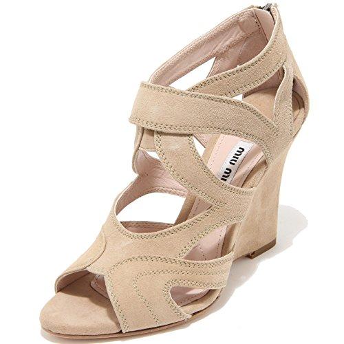 8160I MIU MIU sandalo zeppa donna beige sandal woman scarpe shoes [39]