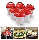 6pcs Egg Cooker Set antiadhésif Coquetiers Silicone pour Soft & Hard Boiled Eggs