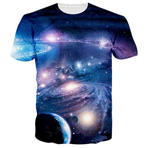 uideazone Mens 3D-Druck-Hipster Hemd mit Kurzen Ärmeln Lässige Graphics Tees galaxy1