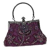 non-brand Sharplace Damen Clutch Glitzer Handtasche Abendtasche Partytasche mit Clipverschluss für Party Hochzeit Theater Kino - Lila