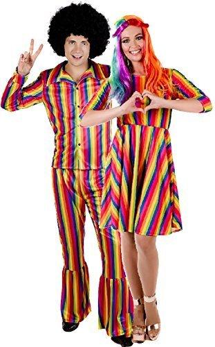 Fancy Me Paar Herren & Damen Heller Regenbogen Hippie Hippy His And Hers Karneval Festival Pride Mardi Gras Kostüm Kleid Outfit - UK 16-18 - Medium (Mardi Gras Dame Kostüme)
