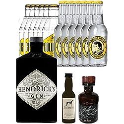 Gin-Set Hendricks Gin Small Batch 0,7 Liter + Windspiel Premium Dry Gin Deutschland 0,04 Liter + Filliers Premium Dry Gin Belgien 0,05 Liter MINIATUR, 6 x Thomas Henry Tonic Water 0,2 Liter, 6 x Goldberg Tonic Water 0,2 Liter