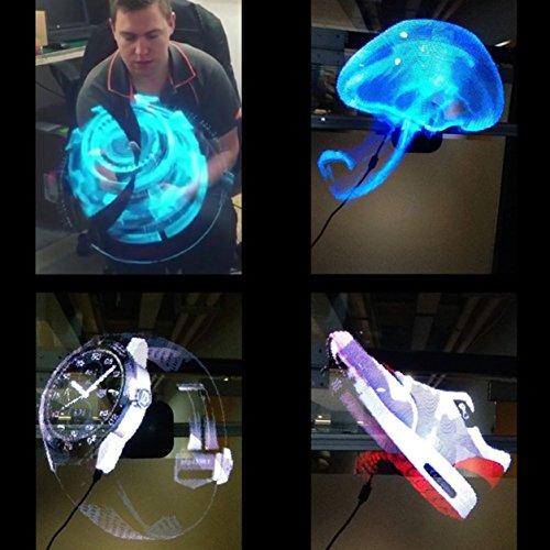 Dailyinshop Proiettore olografico Universale a LED Proiettore olografico Portatile Lettore di Ologramma 3D a sfarfallio Originale Proiettore Ologramma Unico, Spina Europea