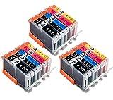 INKMAN 15 Tintenpatrone Kompatibel für Canon PGI-550 CLI-551 Druckerpatronen(3 PGBK XL,3 Black XL,3 Yellow XL,3 Cyan XL,3 Magenta XL)