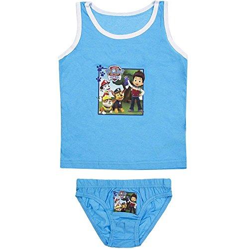 5389 Kinder Jungen Unterwäsche PAW PATROL RESCUE TEAM 2-teilig Hemd u. Unterhose (hellblau, 116-128)