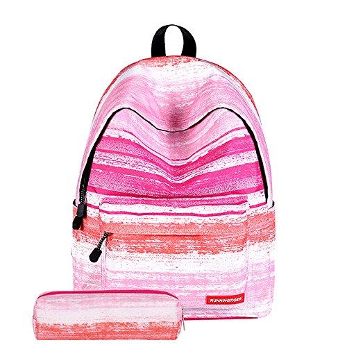 Shujin Mode 2 Teilig Büchertasche Schulrucksack mit Bleistiftbeutel Set Galaxy Print College Tasche Schultasche Wandern Reise Rucksack Daypacks für Teenager Mädchen