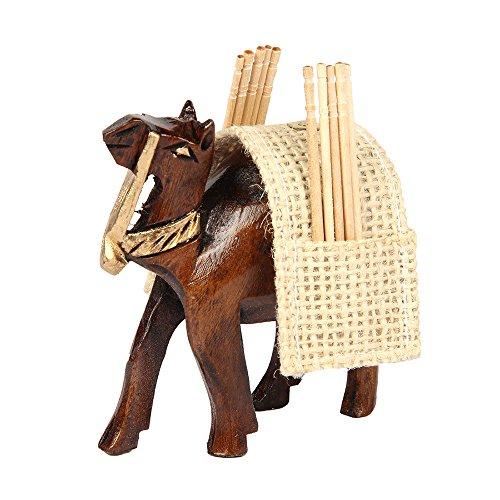aheli Zahnstocher Halter mit Holz Camel Jute Bagon geschnitzt Cocktail Sticks Zahn Pick Holder Home Office Decor (Holz Figur In Geschnitzte)