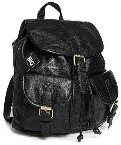 Big Handbag Shop Unisex Vintage in pelle sintetica Zaino da viaggio borsa casual, nero (Black (KL113)), Taglia unica