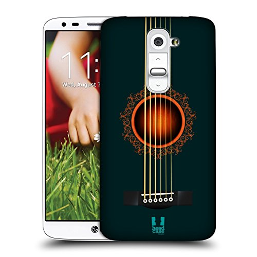 Head Case Designs Turchese Scuro Chitarra Acustica Cover Retro Rigida per LG G2 / D800 / D802 / D801