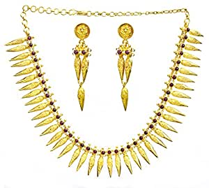 Exotic India Marriage Necklace Known as Thali with Earrings (South Indian Temple Jewelry) - Sterling