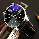 Fghyh Armbanduhr Herren Armbanduhr FGHYH Vintage wasserdicht Datum Lederarmband Sport Quarz Watch Uhr(A-47)
