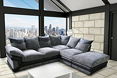Grande Nuovo Dino Corner Sofa Set or 3 Seater and 2 Seater Settees Couches Color Variations Available This variation includes: (Black & Grey, Right Hand Set) by Grande Nuovo