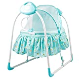 #7: Baybee Premium Quality Electric Baby Cradle Swing | Music Sleeping Basket Bed | Lightweight and Transportable ( Blue )
