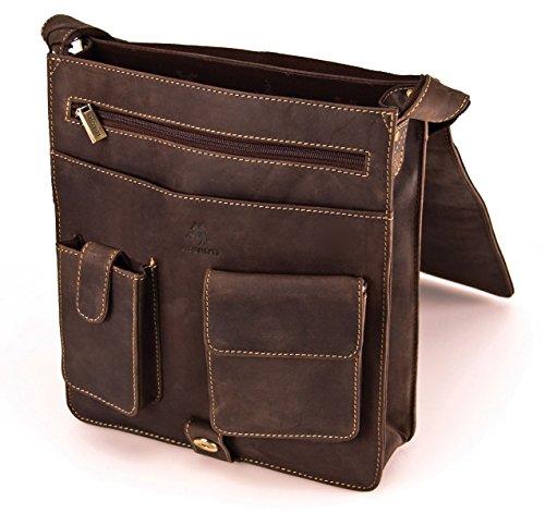 Visconti Hunter - Borsa da spalla / a tracolla - adatta per iPad - in pelle a olio invecchiata - JASPER # 18410 Marrone opaco