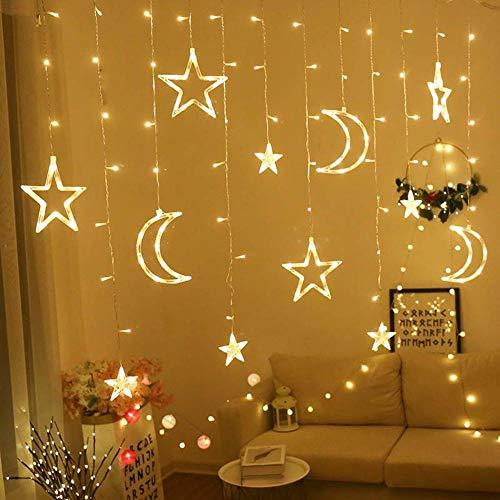 Mond Sterne Led Vorhang Lampe String Weihnachtsbeleuchtung Dekoration Urlaub Lichter Vorhang Lampe Hochzeit Neon Laterne 220 V Lichterkette