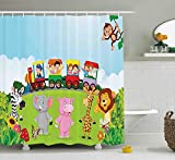 Dessin Animé Rideau De Enfants Nursery Design Heureux Enfants sur Un Choo Choo Train avec Animaux Safari Artworks Décor Set avec des Long Multicolor