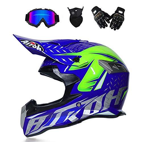 LIUJIE Casco da Motocross ATV Maschera Regalo Guanti da Maschera V1 Casco Integrale da Gara Racing per Uomo e Donna,Blue,L
