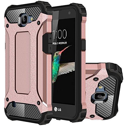 LG K4 Hülle, HICASER Hybrid Dual Layer Rugged Heavy Duty Defender Case [Shock Proof] Drop Resistance TPU +PC Handytasche Schutzhülle für LG K4 Rose Gold