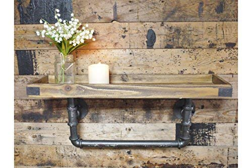 Homes on Trend Industrial Steampunk Style Wood & Metal Pipe Wall Shelf  Storage Shelving Unit