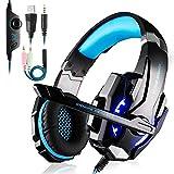 PREUP Auriculares Gaming Cascos PS4, Micrófono Control de Volumen LED Luz 3.5mm Jack, Reducción de ruido, PC/Xbox One/Nintendo Switch/Móvil/Tablet, Azul(Tiene un adaptador)